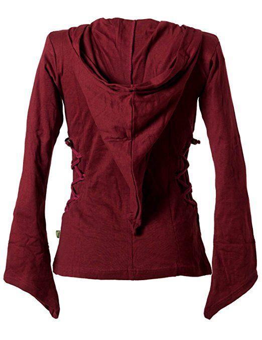 Vishes – Alternative Bekleidung – Elfenshirt mit Zipfelkapuze und Bändern zum Schnüren dunkelrot 34/36: Amazon.de: Bekleidung