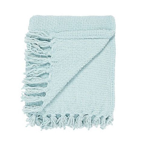 Debenhams Aqua Chunky Chenille Throw At Debenhams Com