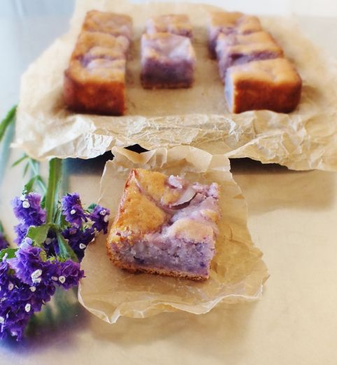 Okinawan sweet potato cake with macapuno ~ oh, so pretty ✿