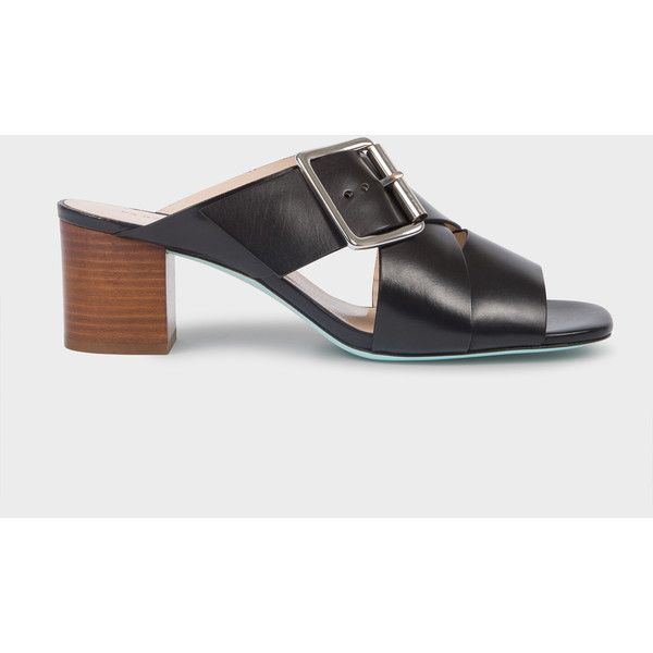 PS Paul Smith Women's Black Leather 'Kenza' Heeled Sandals ($375) ❤ liked on Polyvore featuring shoes, sandals, black, black block-heel sandals, mid-heel sandals, leather heeled sandals, leather sandals and leather sole sandals