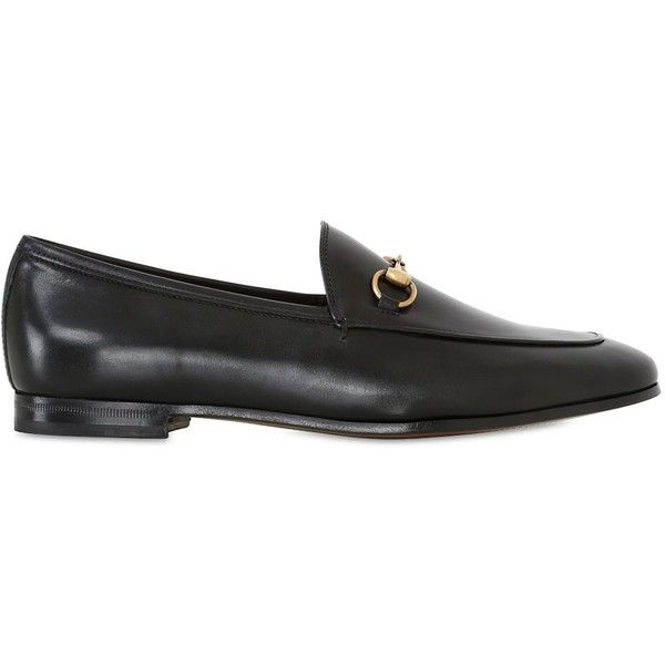 Gucci Women 10mm Jordan Leather Loafers (9.253.920 IDR) ❤ liked on Polyvore featuring shoes, loafers, black, black leather shoes, black leather loafers, leather shoes, leather sole shoes and loafer flats