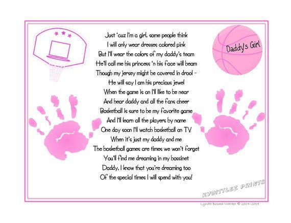 Daddy's Girl©  Basketball Sports Poem Print by KydittlezPrints