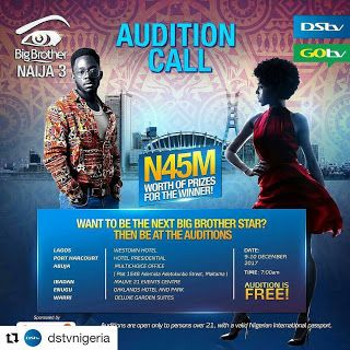 Details Of How To Apply For Big Brother Nigeria 2018 Season 3 And Audition Details http://ift.tt/2j74WU9