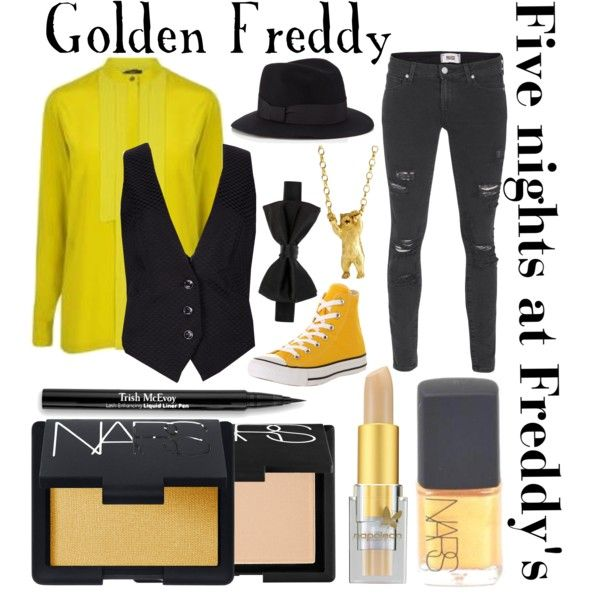 """Five night's at Freddy's inspired outfits #9 Golden Freddy"" by tortured-puppet on Polyvore"