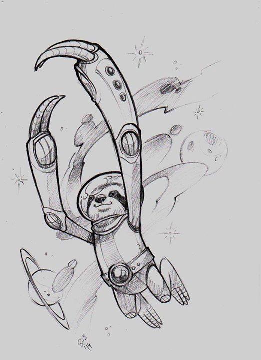 space sloth sketch by Zsófia Simon