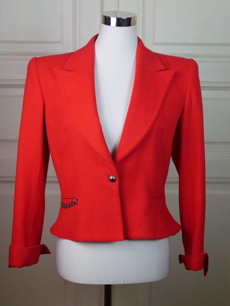 Italian Vintage Claude Montana Blazer Women's, Red-Orange Blazer, Coquelicot Blazer,  European Vintage Short Blazer: Size 8 (US), 12 (UK) by YouLookAmazing on Etsy