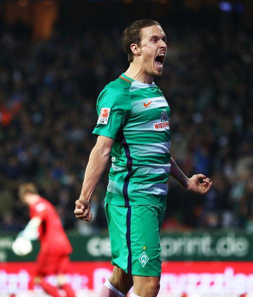Max Kruse of Werder Bremen celebrates after scoring the second goal during the Bundesliga match between Werder Bremen and FC Schalke 04 at Weserstadion on April 4, 2017 in Bremen, Germany.