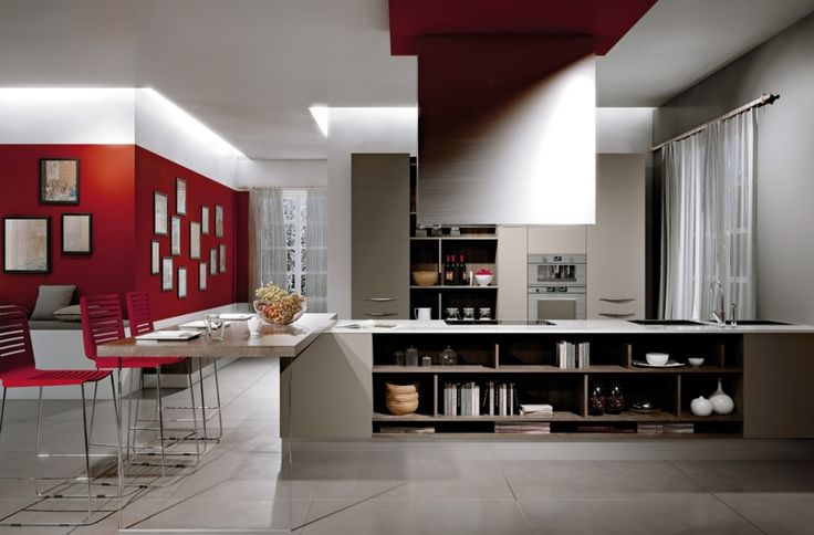 Kitchen Designs:Modern Design With Shocks Of Red In The Wall And Pictures Decor Gorgeously Minimum Kitchens with Ideal Organization