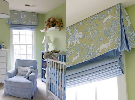 soft patterned valance with contrasting solid roman shade - fresh, charming, colorful, and out of the way in this nursery