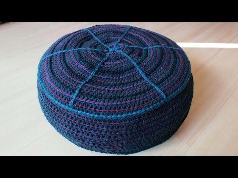 Pouf ottoman knitting tutorial part 1 - YouTube