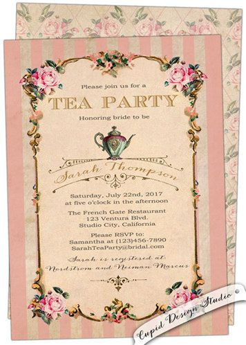 New to CupidDesigns on Etsy: tea party birthday invitation. Birthday High tea party invite. Tea party invitation. Custom personalized printable or printed. (20.00 USD)