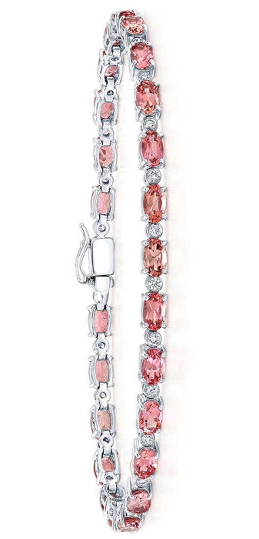 Pink Tourmaline & Diamond Bracelet 14kt White Gold