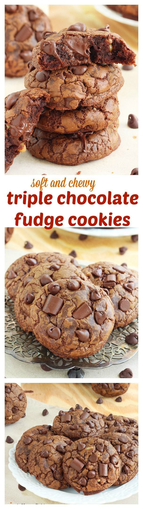 A chocolate lover's dream come true, these chocolate fudge cookies are soft, slightly chewy and packed with over a pound of chocolate! That's over 1 ounce of chocolate in each cookie!