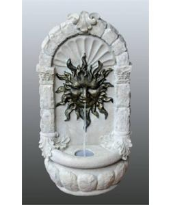 This Bermuda water feature has a very classic design of a Sun Burst, it is wall mounted and comes with template for mounting. wall plugs and screw.