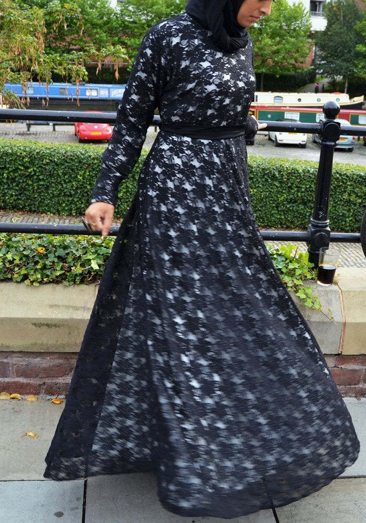 Black Lace  with White satin lining Gown