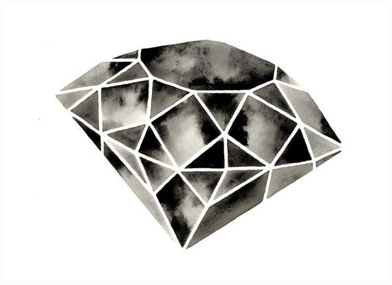 Geometric Diamond III  Original Watercolor by GeometricInk on Etsy, $30.00