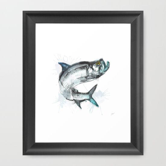 Tarpon Fish Framed Art Print by Allison Reich #illustration #art #drawing #home #decor #fish #tarpon #fishing #watercolor #digitalart #florida #design