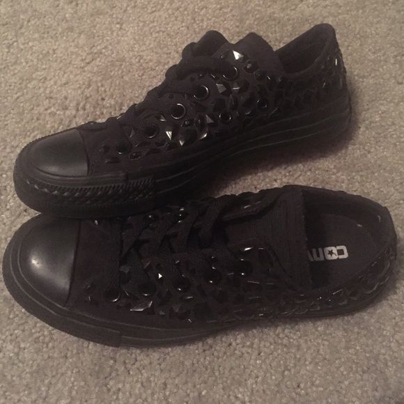 Black Rhinestone Converse Chuck Taylors Black on black rhinestone Converse Chuck Taylor low tops, only worn one time. Converse Shoes Sneakers