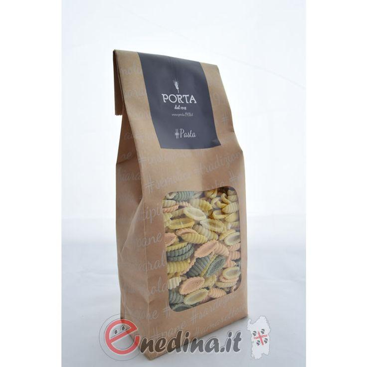 Malloreddus tricolore aromatizzati allo zafferano, pomodoro, spinaci. Sardegna. Shop online enedina.it