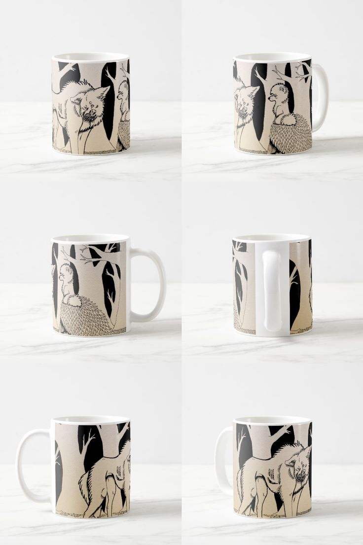 """""""You Made a Mess"""" Black and white illustrated wolf Coffee Mug"""