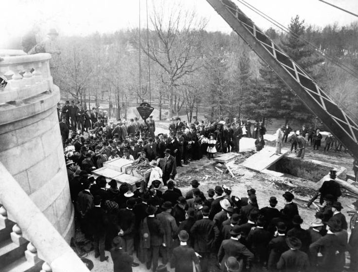 The coffins of Abraham and Mary Todd Lincoln await reburial in the reconstructed Lincoln Monument in Springfield's Oak Ridge Cemetery in 1901.