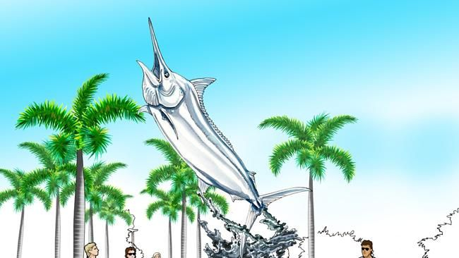 HOOKED: An artist's impression of a life size 1100-pound (500kg) black marlin sculpture.