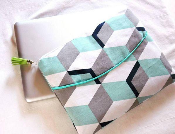 """Pochette Housse ordinateur SUR MESURE portable 13"""" 14"""" 15"""" pouces aux motifs géométriques"""