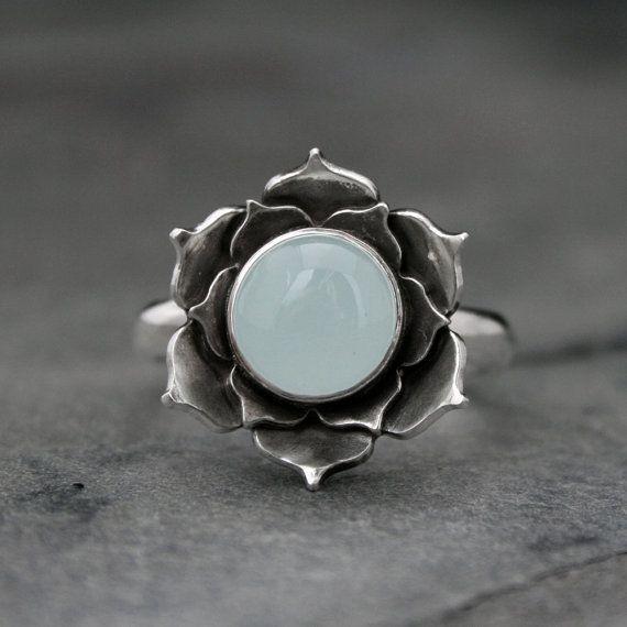 awesome cool Aquamarine Lotus Ring, Sterling Silver Statement Ring, Luminous Lotus Flowe...