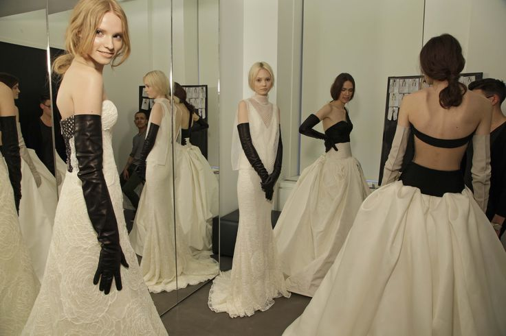 Backstage | Spring 2014 Vera Wang Bridal Show. Love the idea of long black leather gloves!