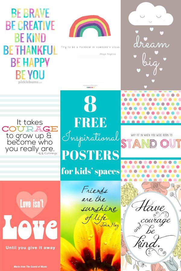 8 Free Inspirational Posters For Kids Spaces Coloring