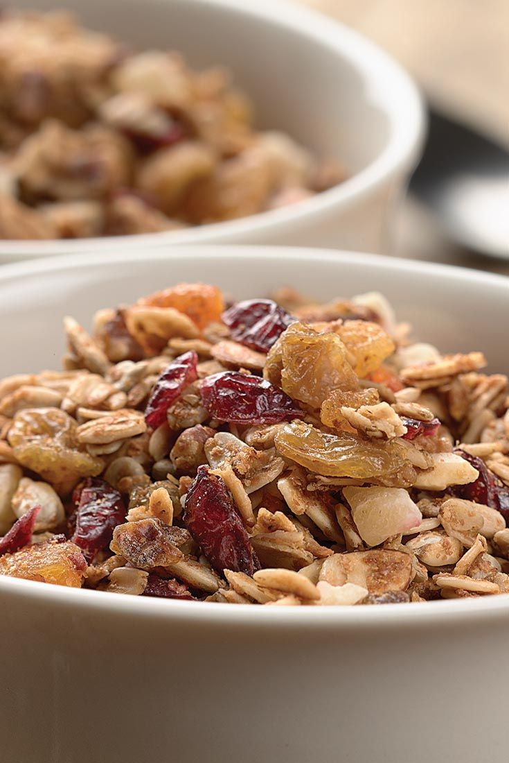 KAF Crunchy Granola Recipe. I substitute ground flax seed for wheat germ, coconut oil for the vegetable oil, and a combination of agave and stevia for the sweetener My Flavors: *Cardamom-Orange-Blueberry (ground cardamom, OJ, orange zest, dried blueberries) *Tropical (mango, pineapple, freeze dried bananas, ground ginger) ...