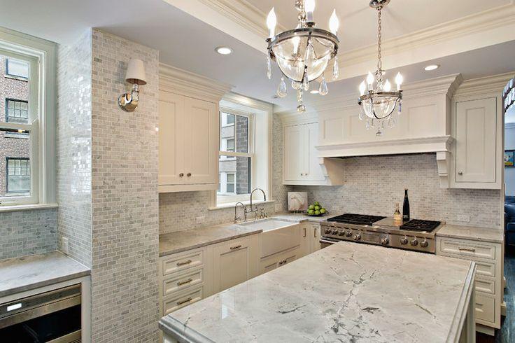 white cabinets, inset cabinets, brushed nickel hardware, tiled kitchen
