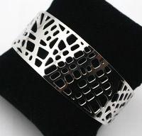 Joyería de moda diseños de plata abrir brazaletes de puño Gourmettes pulseras para mujeres francia joyería Aco Inoxidavel Pulseira                                                                                                                                                                                 Más
