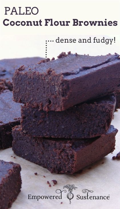 Coconut Flour Brownies - dense and fudgy! #paleo #glutenfree