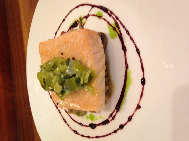 Slow Cooked Salmon Summer Mushroom Fricasee Leek Fondue Red Wine Reduction