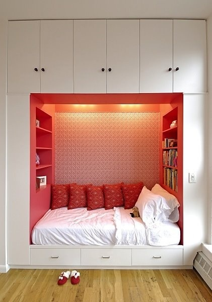 Bed idea for small rooms - I would add curtains to both sides so that you could hide the bed entirely! Make the bottom drawer one and use as dog bed if you have pets too