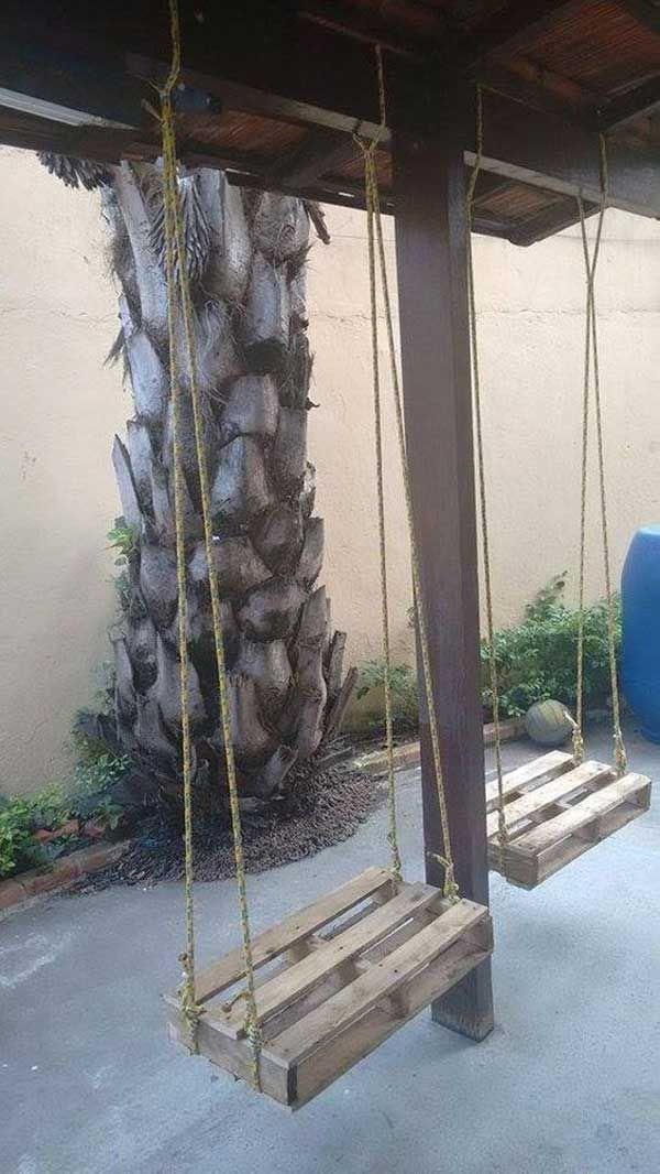 Pallet Swings - 21 No Money Backyard Pallet DIYs for Kids Summer Fun
