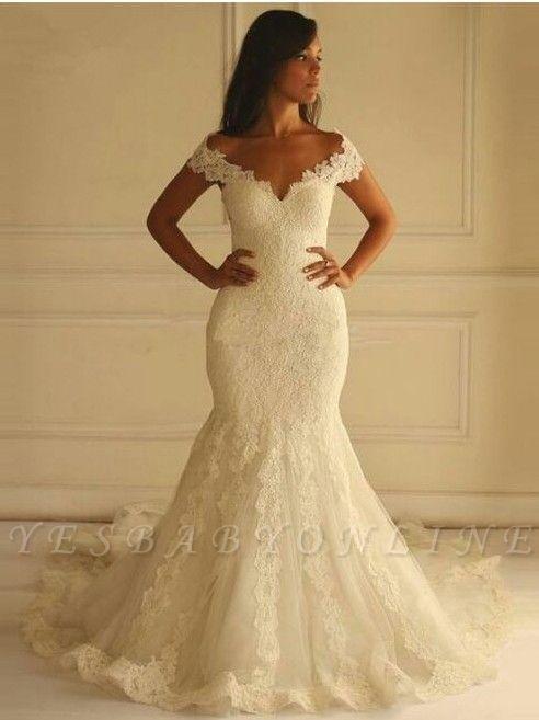 Glamouröse Spitze-Applique Off-The-Shoulder Meerjungfrau Brautkleider