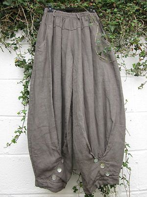 "SARAH SANTOS QUIRKY LINEN HAREM BALLOON TROUSERS TAUPE 24"" - 38"" LAGENLOOK 