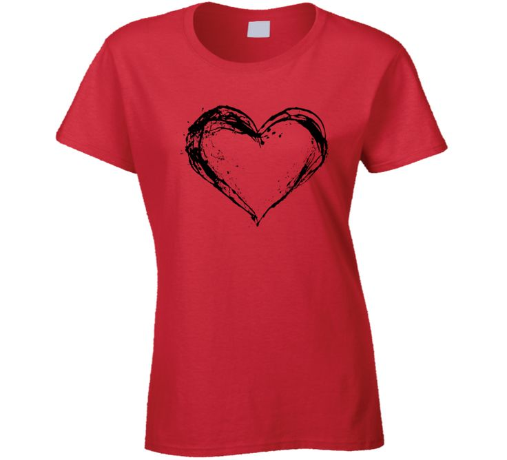 Valentine's Day Black Heart Couples Lovers Cool Gift T Shirt