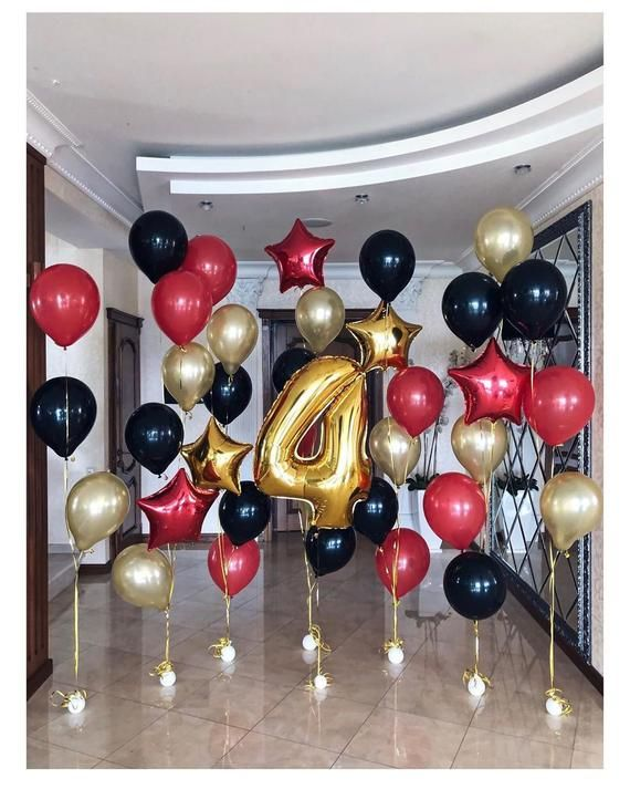 Red Black Gold Balloon Bouquet Party Balloons Happy 18th Etsy In