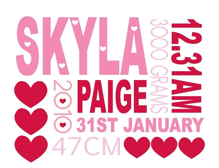 Girls Personalised Birth Details Print - by ColourandSpice on madeit