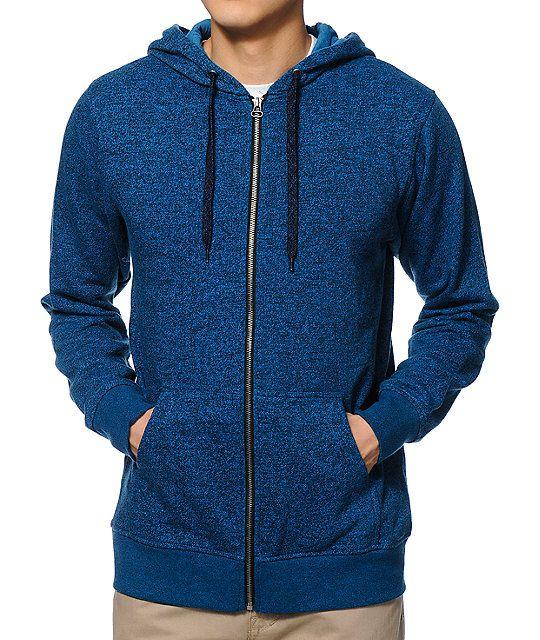 The Zine Hooligan speckled ocean blue zip up hoodie