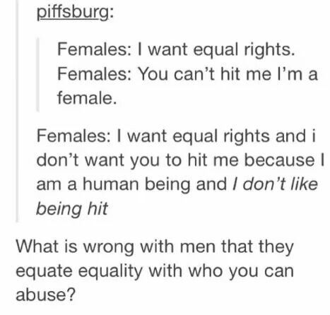 I don't think you can't hit me because I'm female. You can't hit me because I'm a human being who deserves respect.
