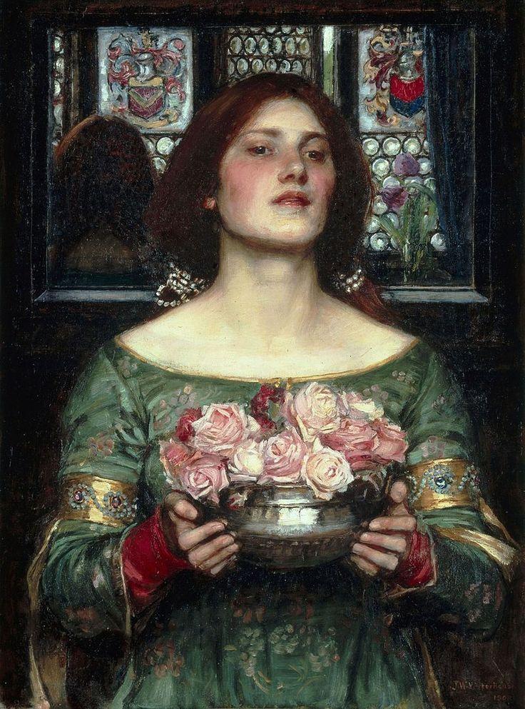 """Esta obra de John William Waterhouse titulada """"Gather Ye Rosebuds While Ye May"""" representa claramente el tópico literario Collige, virgo, rosas. Nos muestra una bella y joven chica sujetando un jarrón lleno de rosas rosas."""