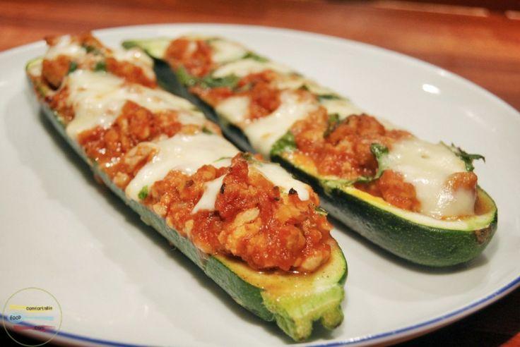 Stuffed zucchini boats with chicken and mozzarella | Recipe