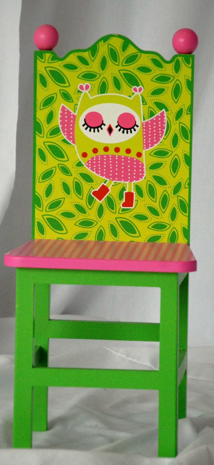 Child Chair  - Green with Pink - Painted Owl