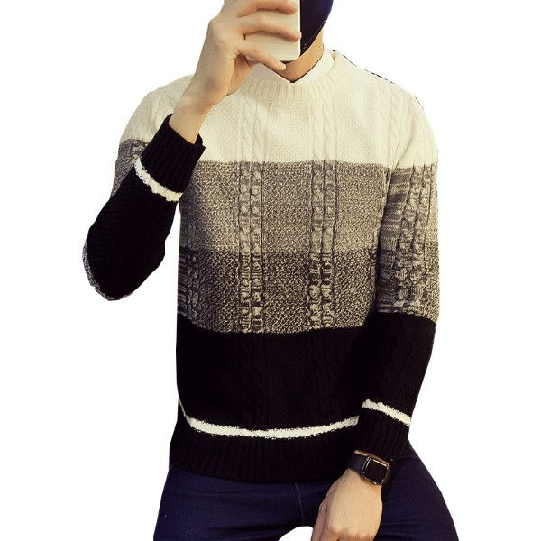 MR.JIM 2017 Winter new men's Sweater fashion Sweater Classic 3 color SpellColor Long-sleeve men's Pullover Sweater