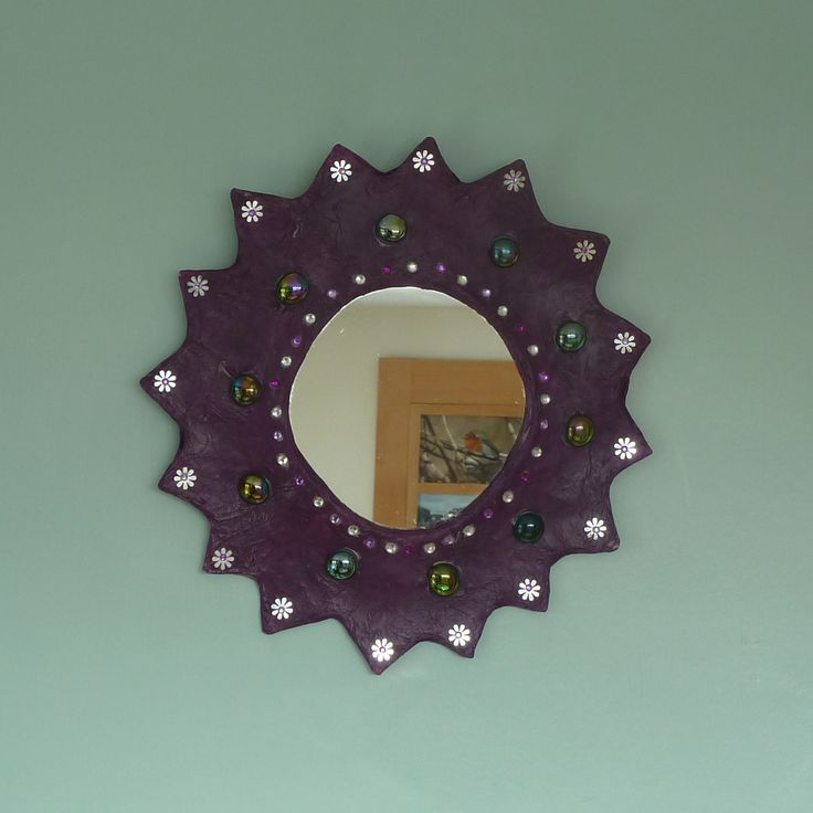 purple daisy paper mache mirror