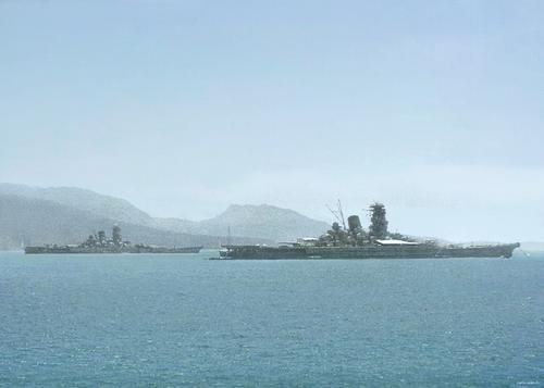 Yamato-class battleship at anchor at Truk Islands with sister ship Musashi 1943: